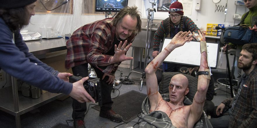 Larry Fessenden and crew on the set of Depraved with Alex Breaux (Adam).
